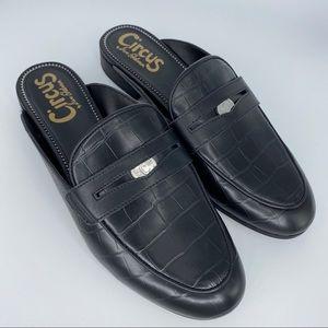 SAM EDELMAN Black Croc Hal Slide Mules 8.5 Womens
